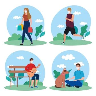 Cenário, pessoas fazendo atividades ao ar livre, usando máscara médica, contra o vírus do coronavírus 19