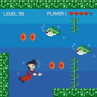Cenário pixelado de videogame retrô