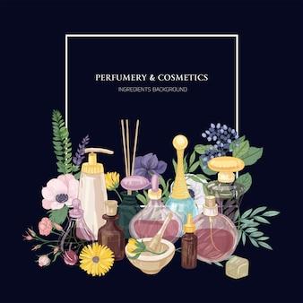 Cenário quadrado com perfume em frascos decorativos de vidro de várias formas e tamanhos, lindas flores desabrochando e lugar para texto em fundo azul escuro. ilustração colorida realista em vetor