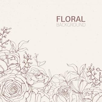Cenário quadrado floral com lindas flores rosas desabrochando, folhas e inflorescências crescendo na parte inferior