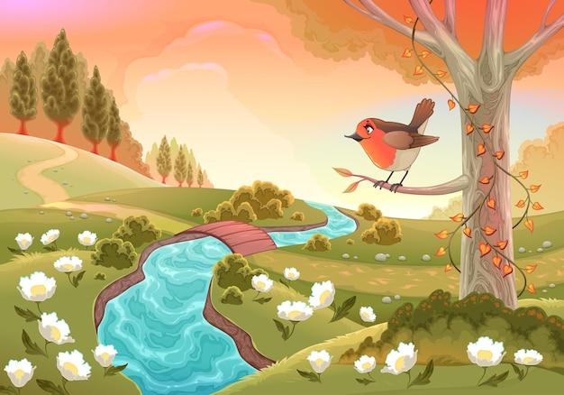 Cenário romântico com robin. ilustração em vetor paisagem