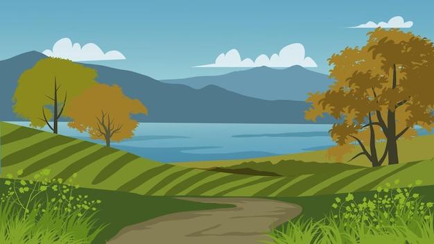 Cenário rural com lago e montanha fazenda