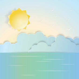 Cenário sol e mar em corte de papel