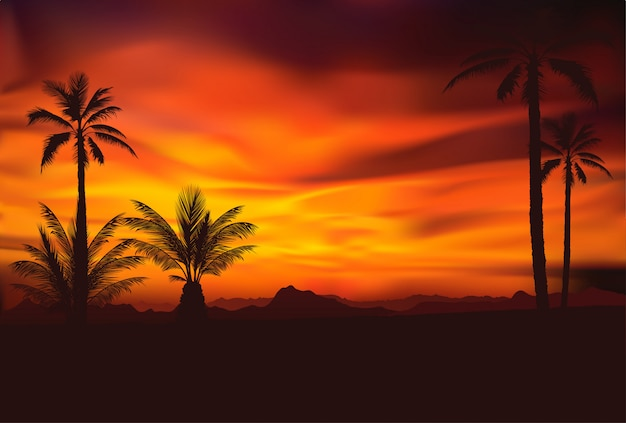 Cenário tropical dramático com palmeiras recortadas
