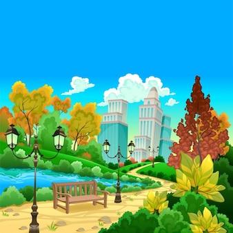 Cenário urbano em uma ilustração do vetor dos desenhos animados jardim natural