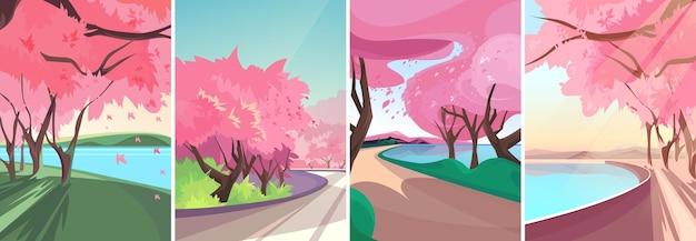 Cenários com sakura florescendo. paisagens de primavera na orientação vertical.