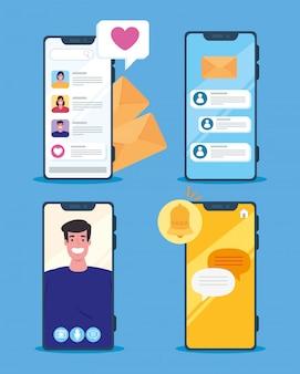 Cenários de chat online em smartphones de jovens, conceito de mídia social