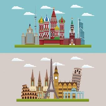 Cenários de paisagens urbanas lindas europeias