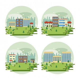Cenários de visão de paisagem urbana de edifícios urbanos