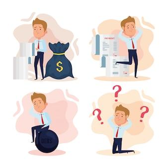 Cenários, elegantes empresários preocupados