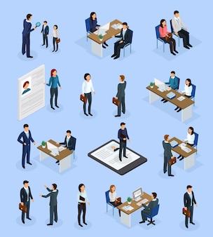 Cenários isométricos de recrutamento de emprego
