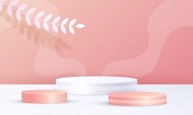 Cenas 3d mínimas de exibição de produto, círculo pódio onda folha fundo cor laranja