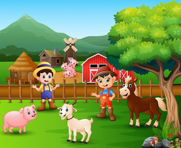 Cenas da fazenda com animais diferentes
