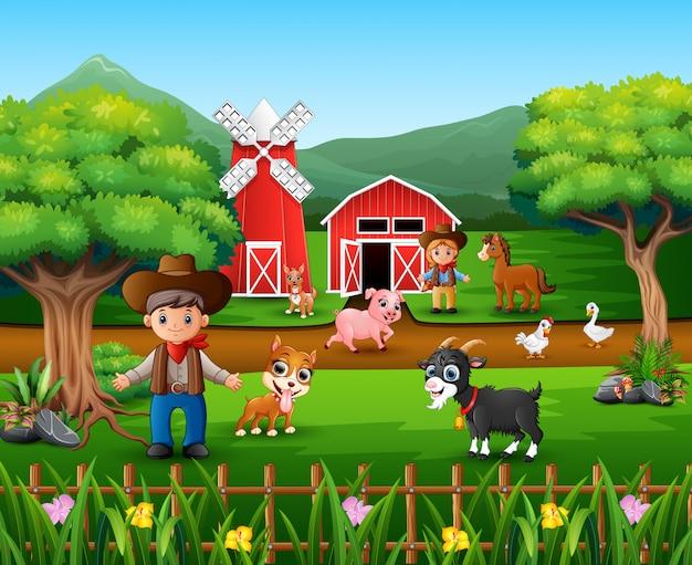 Cenas da fazenda com muitos animais e agricultores