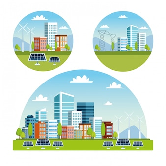 Cenas da paisagem urbana de edifícios e painéis solares