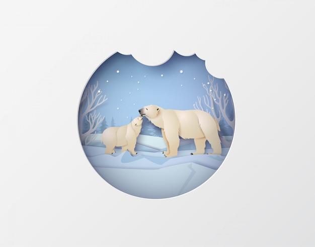 Cenas de animais selvagens de inverno com urso polar