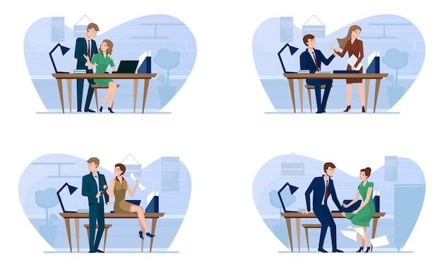 Cenas de assédio sexual em escritórios comerciais. chefe flertando com a secretária ou funcionário, ilustração em vetor plana isolada. casos de amor no trabalho. relacionamento romântico, casos extraconjugais no local de trabalho.