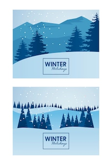 Cenas de belas paisagens de inverno com ilustração de letras