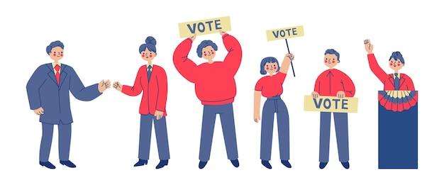 Cenas de campanha eleitoral de design plano