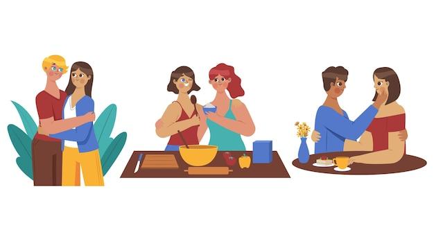 Cenas de casais lésbicos de design plano orgânico