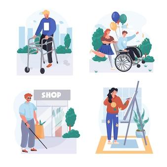 Cenas de conceito de pessoas com deficiência definem ilustração vetorial de personagens