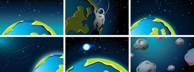 Cenas de espaço de terra diferentes ou plano de fundo