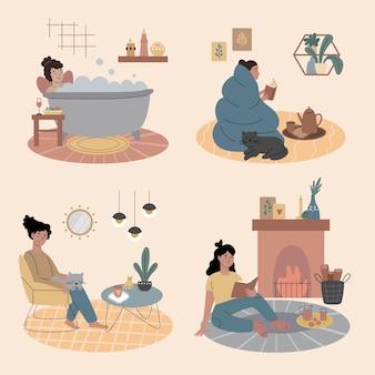 Cenas de estilo de vida de higiene desenhada à mão livre