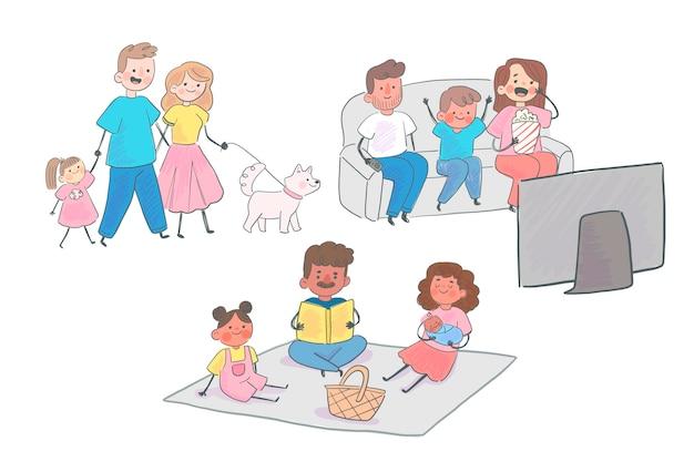 Cenas de família desenhadas à mão