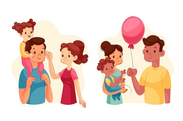 Cenas de família em gradiente com balão