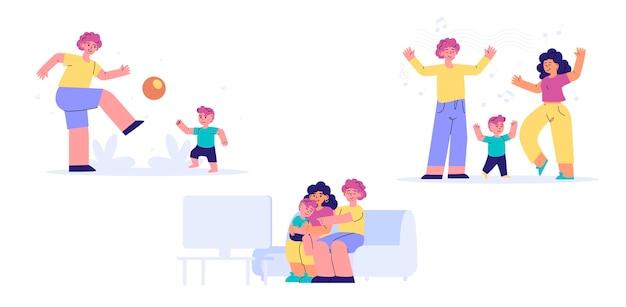 Cenas de família ilustradas desenhadas à mão