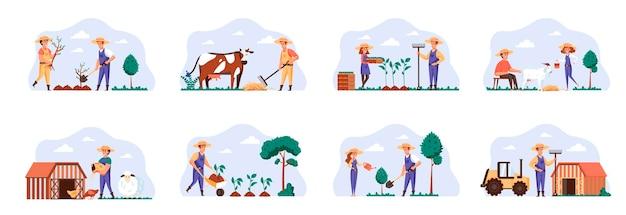 Cenas de fazendeiros combinam com personagens de pessoas