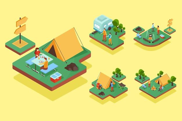 Cenas de férias em acampamento em estilo isométrico