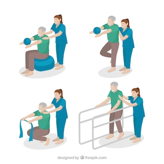 Cenas de fisioterapeuta com um paciente