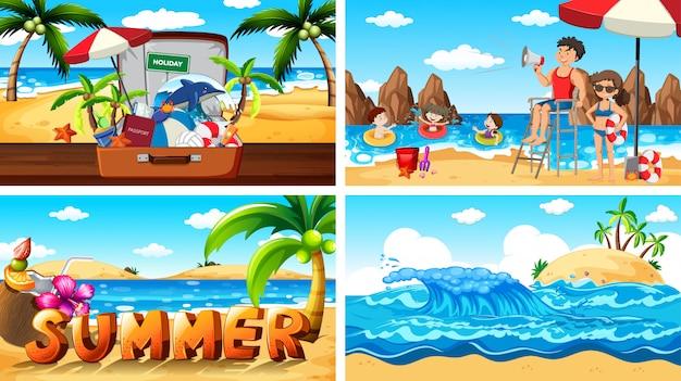 Cenas de ilustração com verão na praia