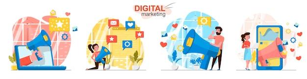 Cenas de marketing digital ambientadas em estilo simples