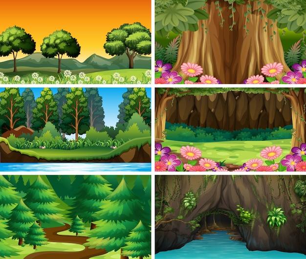 Cenas de natureza paisagem vazia ou em branco ou fundo