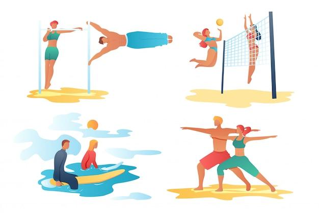 Cenas de personagens de desenhos animados do esporte
