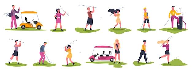 Cenas de pessoas de golfe. jogadores de golfe masculinos e femininos, personagens de golfe perseguem e rebatem a bola, conjunto de jogadores de golfe jogando esportes ao ar livre. jogador de golfe feminino e masculino, competição de esporte de golfe
