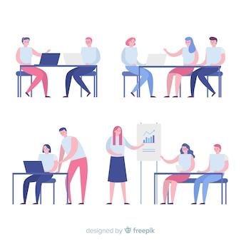 Cenas de pessoas sentadas planas no escritório