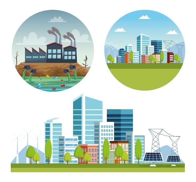 Cenas de poluição da cidade e da indústria da ecologia