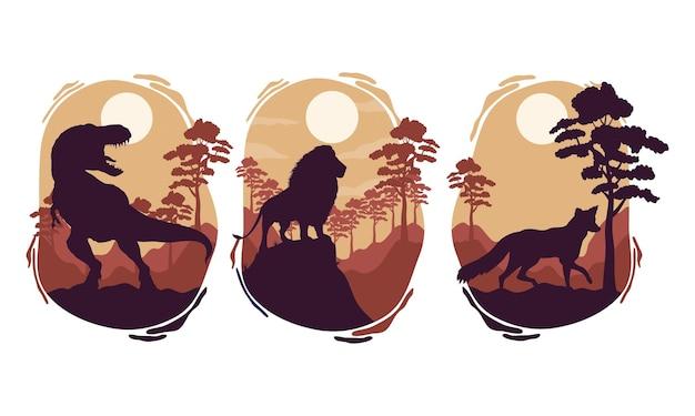 Cenas de silhuetas de fauna de três animais selvagens