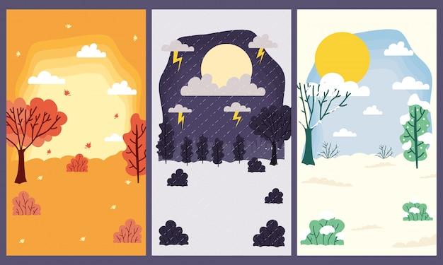 Cenas de temporadas, climas, coleções definidas