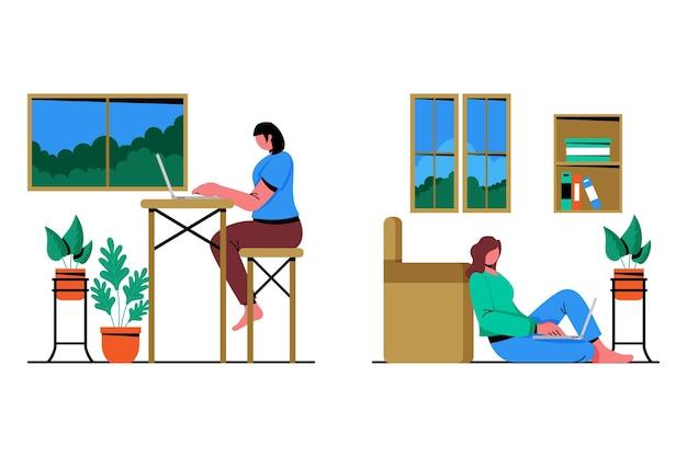 Cenas de trabalho remotas de design plano