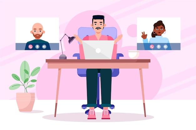 Cenas de videoconferência de amigos de design plano
