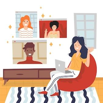Cenas de videoconferência de amigos desenhadas à mão plana