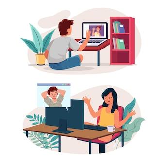 Cenas de videoconferência de amigos desenhados à mão plana