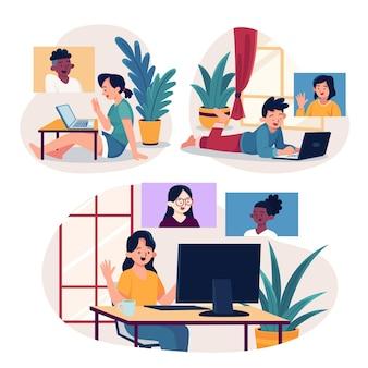 Cenas de videoconferência de amigos desenhados à mão