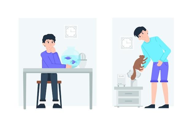 Cenas diárias com conceito de animais de estimação