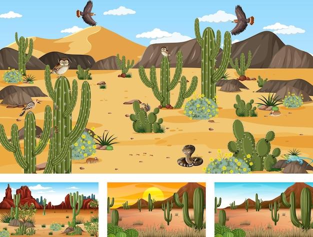 Cenas diferentes com paisagem de floresta desértica com animais e plantas
