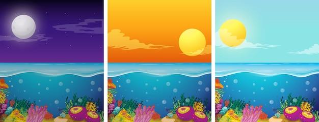 Cenas do oceano com diferentes horas do dia